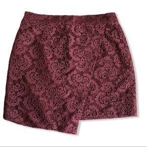 Asymmetrical Madewell Lace Skirt Red Wrap Mini 4